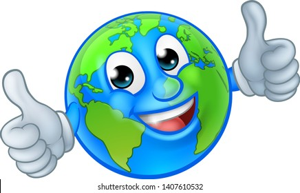 An earth globe world cartoon character mascot giving a thumbs up