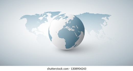 Earth Globe and World Map Design Layout- Global Business, Technology, Globalisation Concept, Vector Template