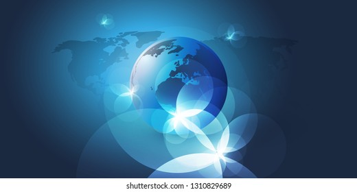 Earth Globe and World Map Design with Light Flares - Global Business, Technology, Globalisation Concept, Vector Template Layout