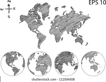 Earth Globe mit World Map Detail Vector Line Sketch Up Illustrator, EPS10.