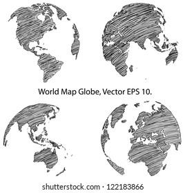 Globe drawing images stock photos vectors shutterstock earth globe with world map detail vector line sketched up illustrator eps 10 gumiabroncs Images