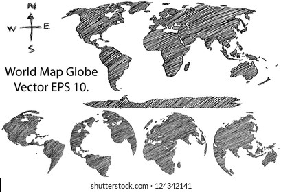 Earth globe world map detail vector stock vector 112504508 earth globe with world map detail vector line sketched up illustrator eps 10 gumiabroncs Images