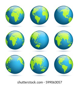earth globe world map set planet with continentsafrica asia australia