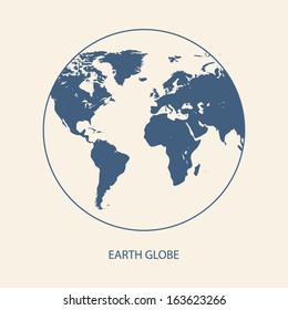 EARTH GLOBE WITH WORLD MAP VECTOR
