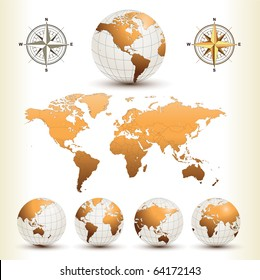 Earth globes with detailed world map, vector.