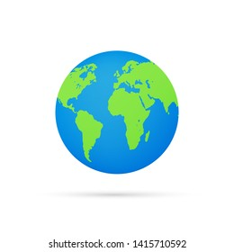 Earth globes isolated on white background. Flat planet Earth icon. Vector stock illustration.