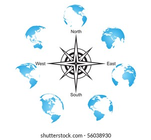 Earth globes set with compass