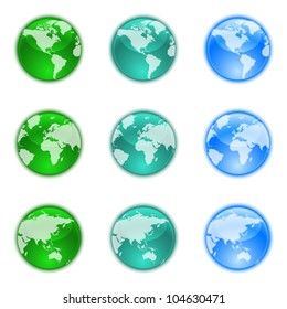 Earth globes set isolated on white