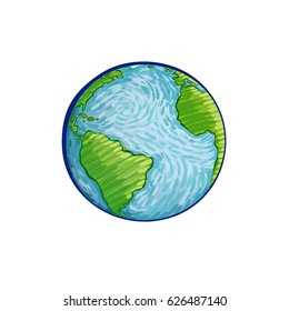 Earth hand-drawn on white background. World map or globe in doodles style. Environment doodle design for earth day.