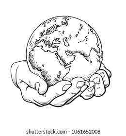Earth in hands in retro style. Two palms hold the globe. Environment concept. Vintage hand drawn sketch vector illustration white background.