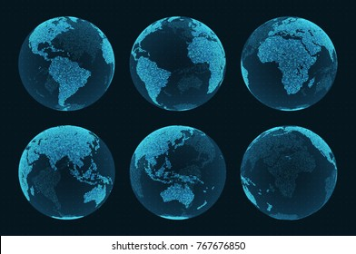 Earth hologram from different angles. Set of hud elements. Blue world map on a dark background with grid. Eps10 vector
