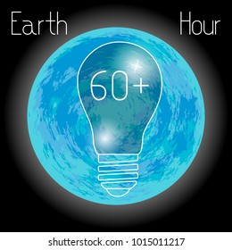 Earth Hour. 60 minutes. The bulbs do not light. Blue planet Earth.