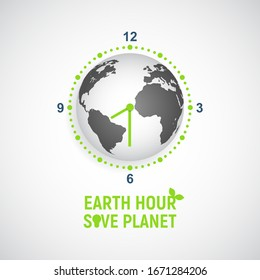 Earth Hour banner. Saving the planet, environmental action. Globe in the form of a clock with an arrow on a light background. Vector realistic illustration.