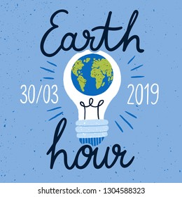 Earth Hour campaign banner with planet inside light bulb and handwritten text. Worldwide ecological movement for reduction of energy consumption. Flat vector illustration for event announcement.