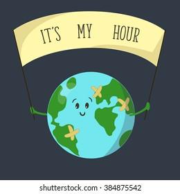 Earth hour. Cartoon earth globe.It's my hour. 19 march  Illustration