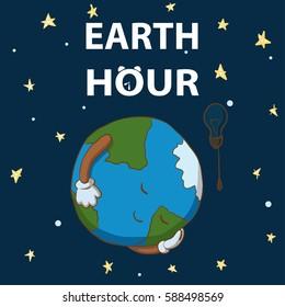 Earth hour. Cartoon earth sleeps. 25 march Illustration.