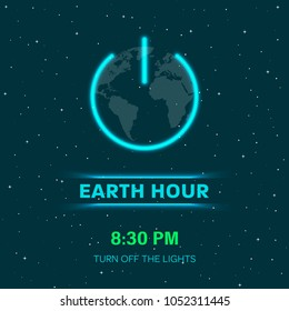 Earth hour concept with neon lights. Flat Earth planet in Space. Earth globe with on/off light switch icon or power button. Abstract space background with stars. Minimal design. Vector Illustration.