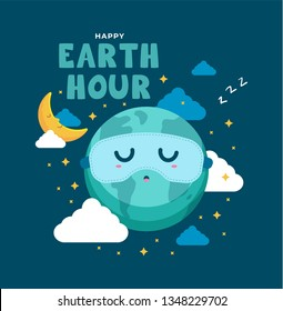 Earth hour day background. Cute cartoon of crescent moon and earth sleep with sleeping mask. Flat vector design for poster, web, mobile, background, social media post.
