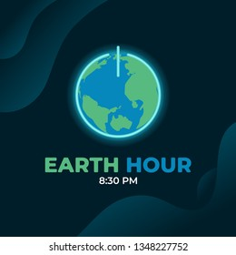 Earth hour day background. World globe map with power icon illustrating sleep or off mode.