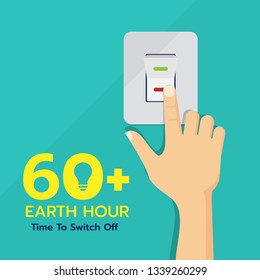 Earth hour day banner with hand touch switch off vector design