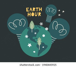 Earth hour day concept card cartoon illustration. Support promise for planet actions, change global world. Environmental threat. Flat vector design for poster, web, background