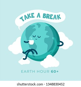 Earth hour day. Cute cartoon globe earth holding cup of coffee enjoy and take a break for a while. Flat vector design for campaign, poster, web, mobile, social media post.