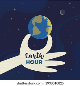 Earth hour day simple vector poster. Light-off moment on globe cartoon design element. Climate change to save Earth concept. Switch off light in support of planet nature banner background illustration