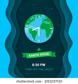 Earth hour. Deep space background with stars and flat Earth planet. Abstract waves background with 3d effect. Green ribbon with leaves. Clock concept. Paper cut style. Vector Illustration.