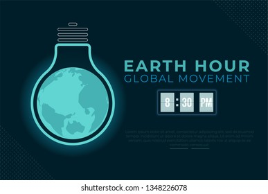 Earth hour illustration background. bulb lamp with world map earth symbolic night sleep mode. Flat design for poster, banner, wallpaper, web, mobile.