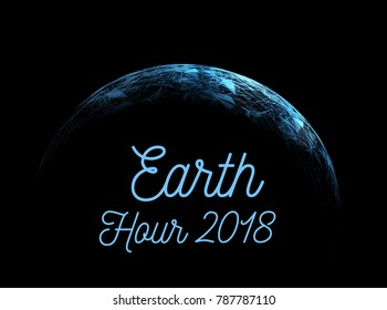 The Earth Hour is an international action calling for the switching off of light for one hour for environmental assistance to planet Earth. Vector illustration
