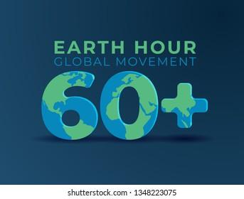 Earth hour international awareness day background. 60 minutes time symbol world map. vector design for poster, flyer, web, social media