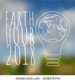 Earth hour poster on blured background.  Save energy. Earth hour coccept. Vector illustration
