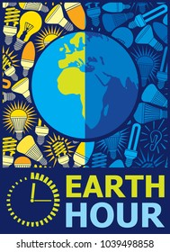 Earth hour poster vector design