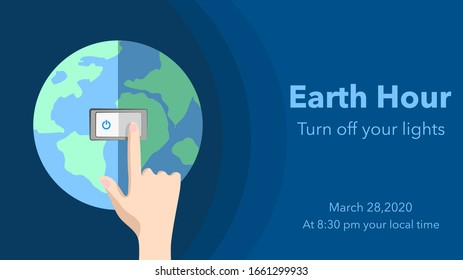 Earth hour switch off lights for 1 hour. march 28, 2020 at 8.30 PM your local time. Hands turning off the light with world globe background. Vector illustration. Flat design