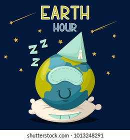 Earth hour vector cartoon poster. Illustration cute planet sleeps on a pillow on the space background with stars.