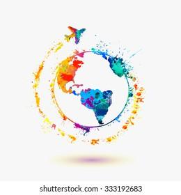 Earth icon. Around the World travel