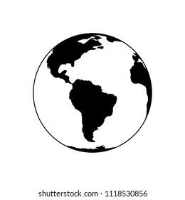 Earth icon black on white background