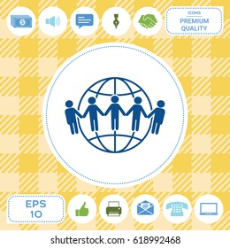 Earth icon. Communication around the world concept. Global community