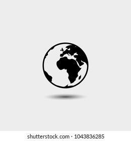 Earth icon in fashionable flat style, isolated on white background. Symbol of the world globe for your website design, logo, interface. Vector illustration