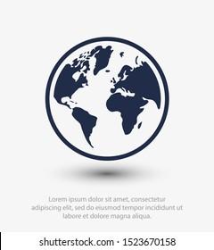 Earth icon. Globe vector illustration EPS10. Planet concept