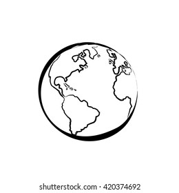 Earth icon hand drawn on white background. World map or globe in doodles style. Environment design for earth-day.