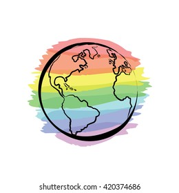 Earth icon hand-drawn on colors of the rainbow background. Globe icon in doodles style. Environment design for earth day.