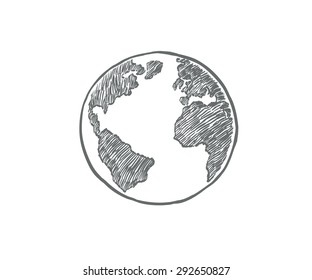 Earth icon hand-drawn on white background. World map in doodles or earth retro style.