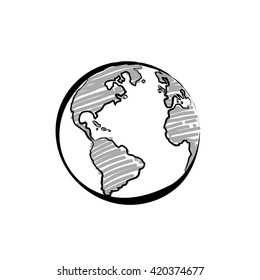 Earth icon hand-drawn on white background. World map in doodles or globe retro style. Environment design for earth-day.