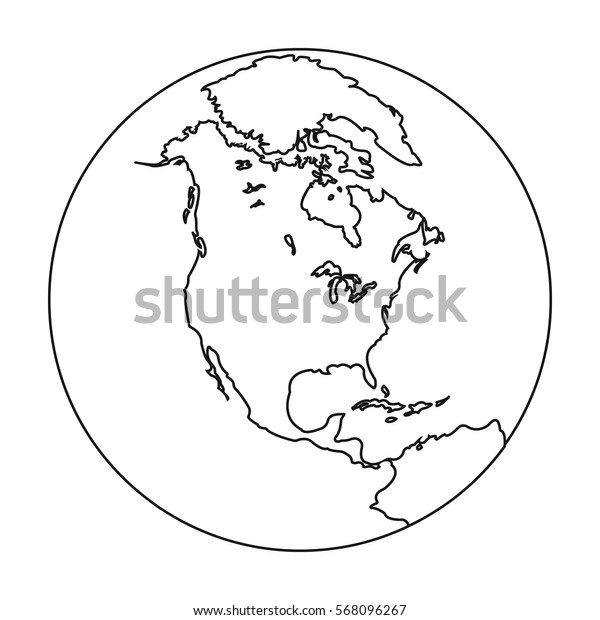 Earth icon in outline style isolated on white background. Planets symbol stock vector illustration.