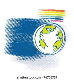 Earth icon, rainbow symbol included
