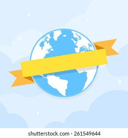 Earth icon with ribbon banner around. Vector illustration