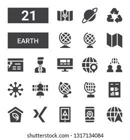 earth icon set. Collection of 21 filled earth icons included Globe, Gps, Navigation, Xing, Eco, Web, Earth globe, Satellite, Network, Website, News reporter, Map, Recycle, Worldwide
