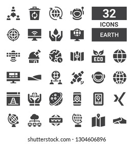 earth icon set. Collection of 32 filled earth icons included Dunes, Map, Globe, Network, Earth globe, Xing, Gps, Saturn, Worldwide, Website, Astronaut, Satellite, Eco, World, Observatory