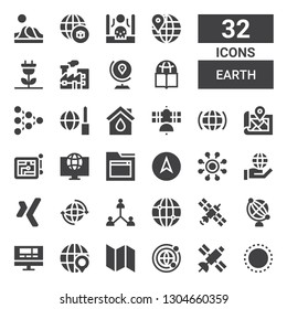 earth icon set. Collection of 32 filled earth icons included Worldwide, Satellite, Map, Globe, Website, Earth globe, World, Network, Xing, Internet, Navigation, Eco house